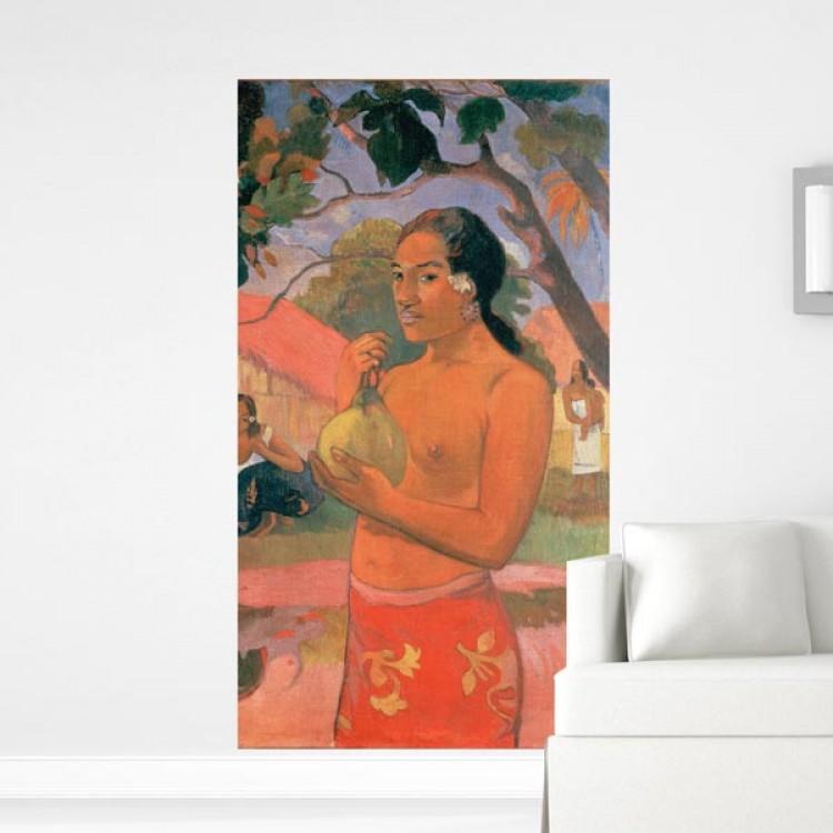 Donna Tahitiana con frutta di Gaugin | Adesivo murale (ambientazione)