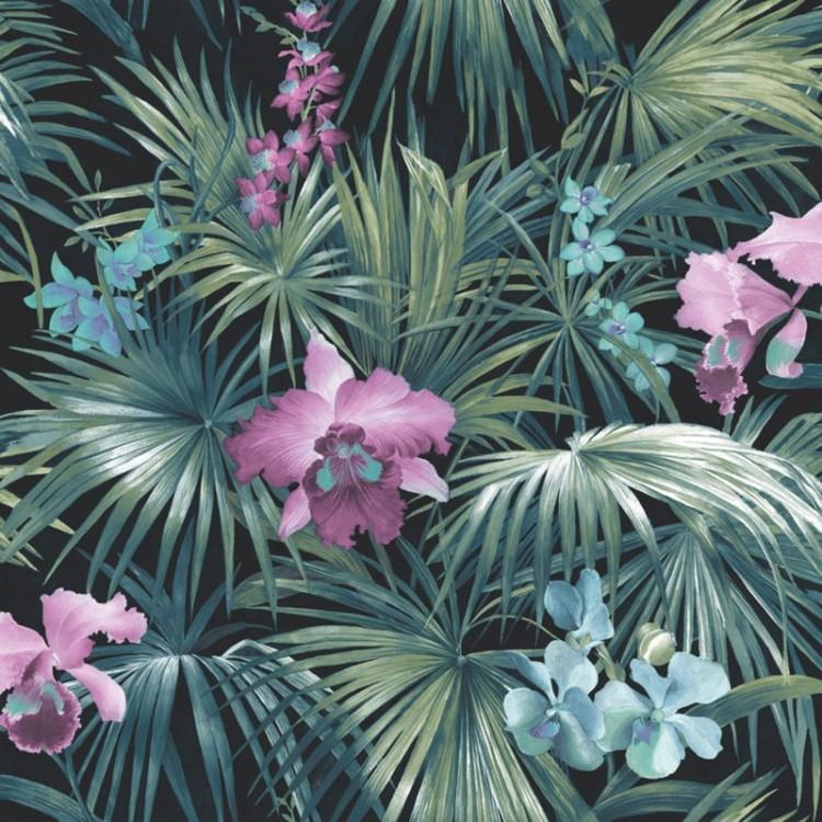 Carta da parati foresta orchidee viola