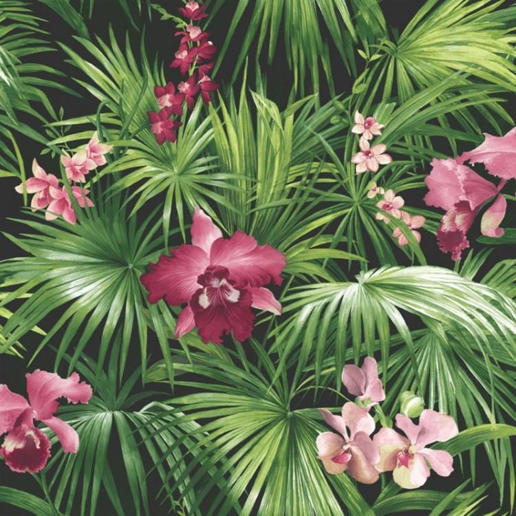 Carta da parati foresta orchidee rosa