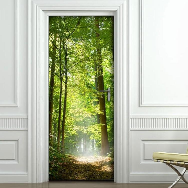 adesivo per porta bosco