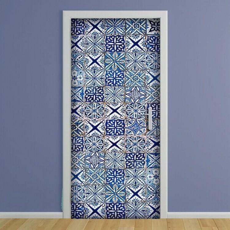 adesivo per porta Azulejos Blue