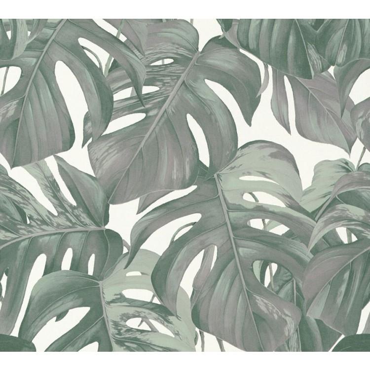 Carta da parati foglie tropicali chiare