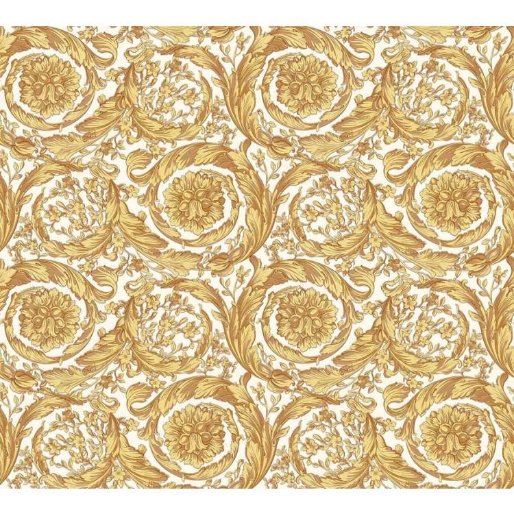 Carta da parati Versace luxury bianco giallo