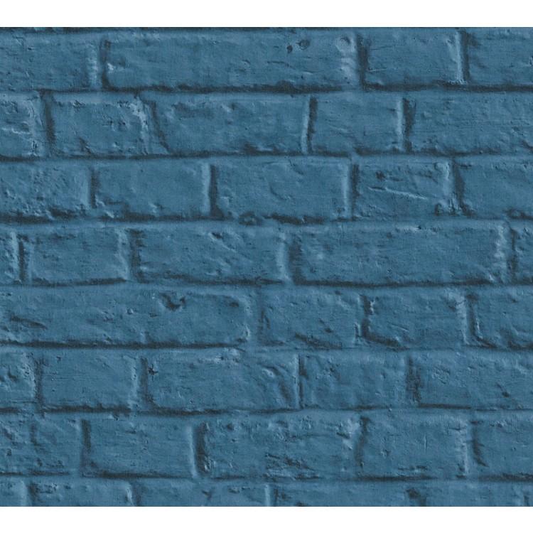 Carta da parati mattoni moderni blu