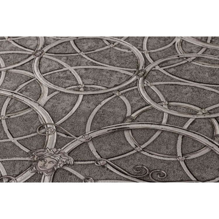 Carta da parati Versace cerchi grigio crema