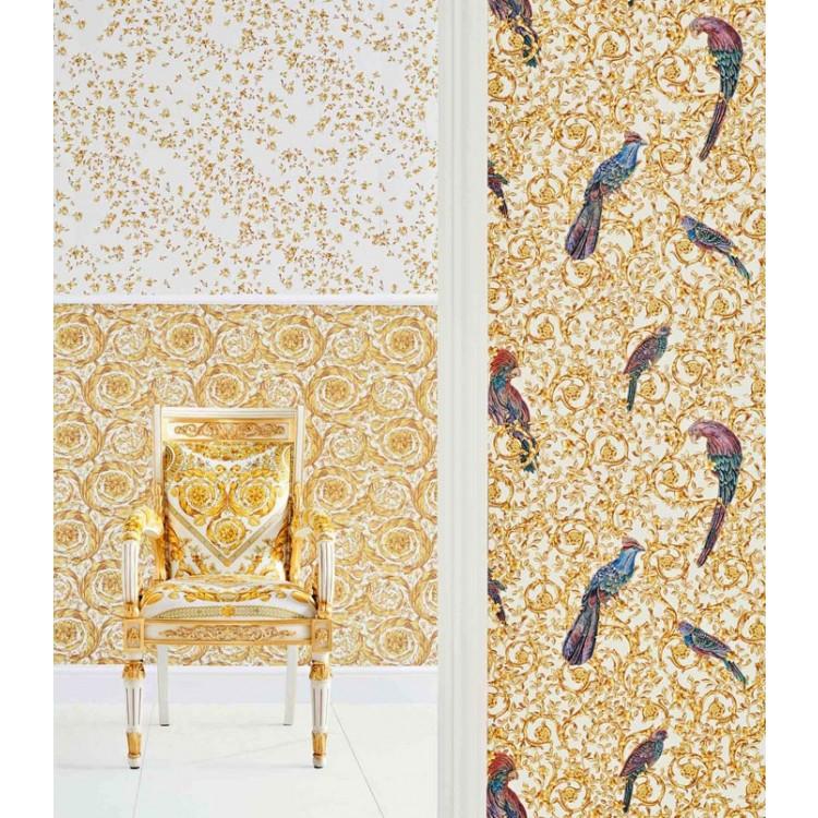 Carta da parati Versace uccelli bianco oro