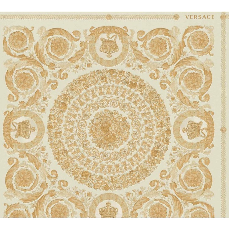 Carta da parati Versace diamanti crema oro