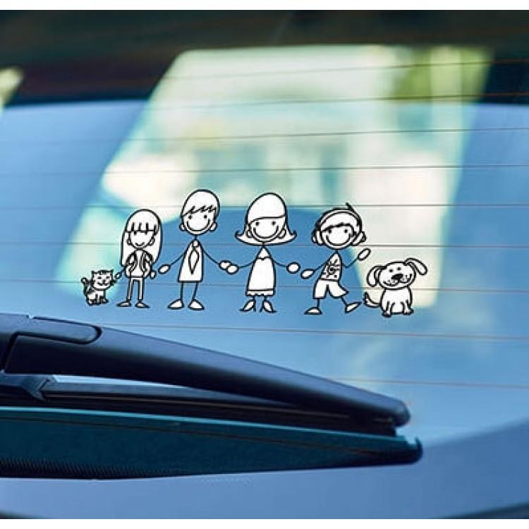 adesivo per auto famiglia felice