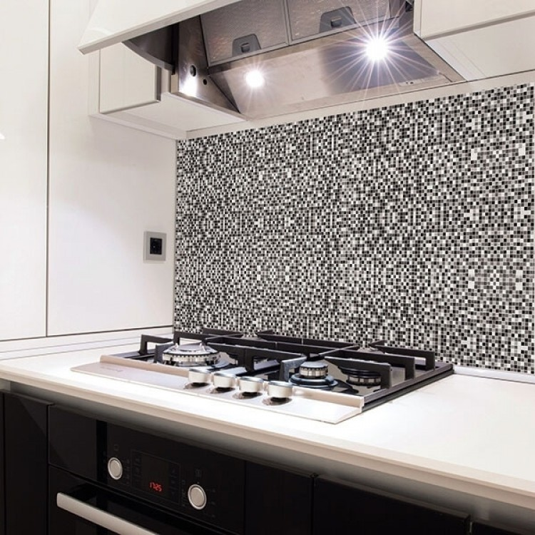 paraschizzi adesivo mosaico nero