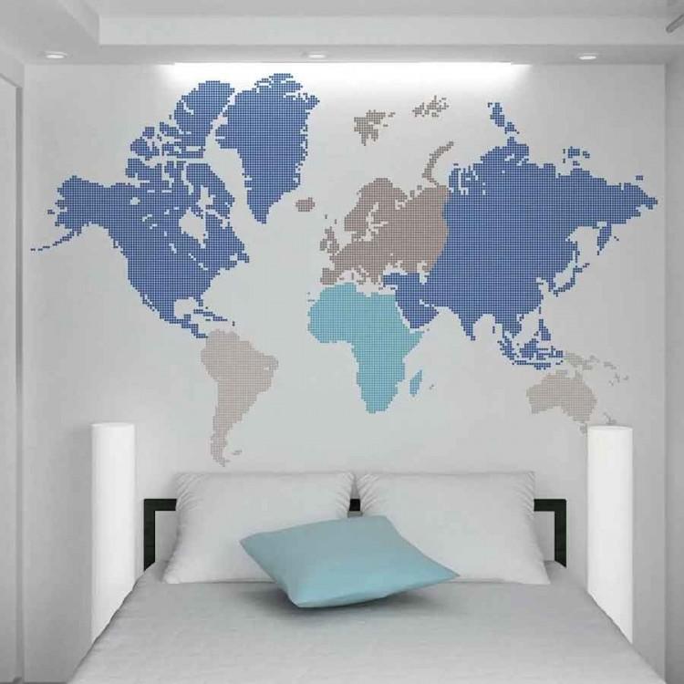 Adesivo murale Mappamondo blue