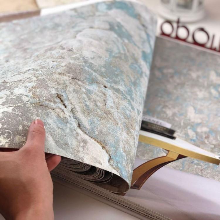 Carta da parati marmo acquamarina