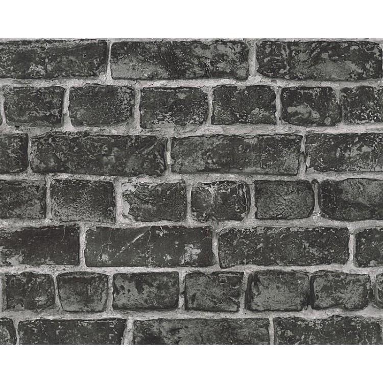 carta da parati mattoni rustici neri