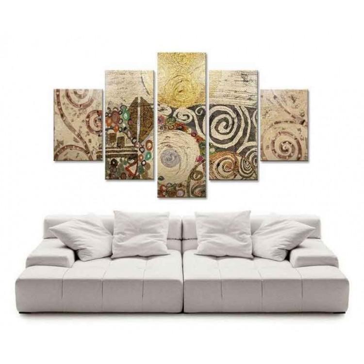 Quadro cinque pannelli Composizione Klimt