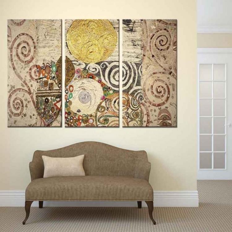 Quadro tre pannelli Composizione Klimt