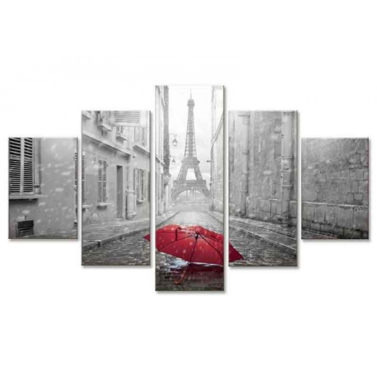 Quadro cinque pannelli Parigi