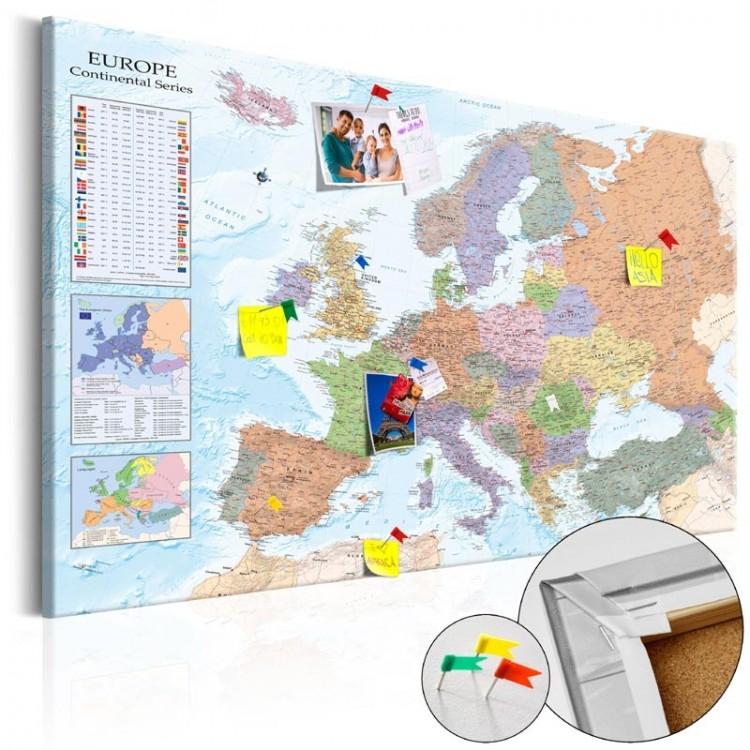 Cartina Europa.Bacheca In Sughero Mappa Europa Geografica Formato Quadro