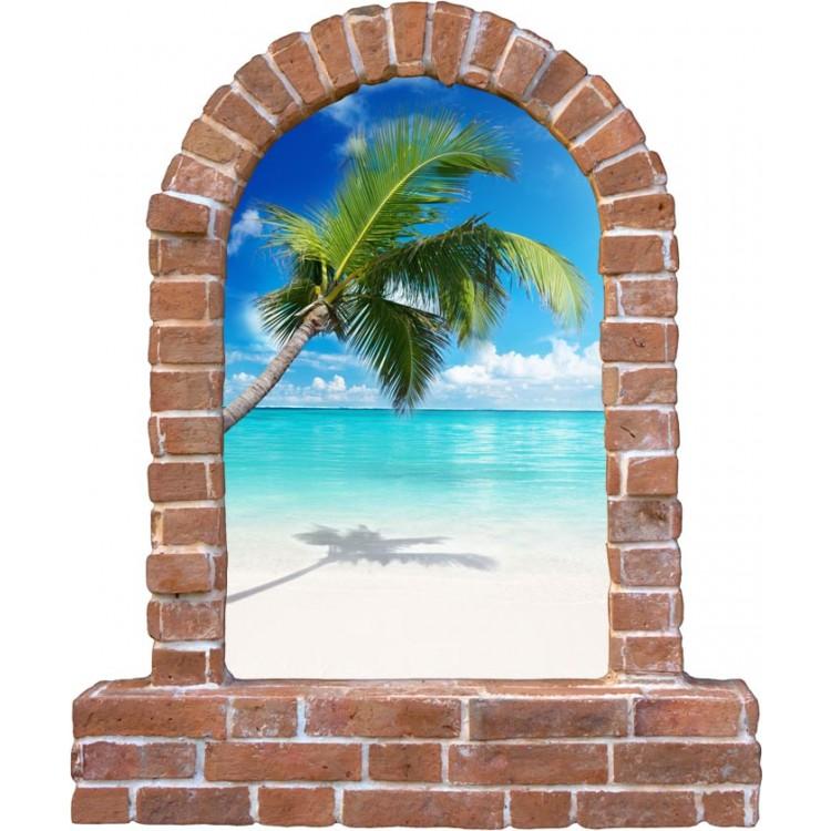 Adesivo trompe l'oeil tropici ambientazione