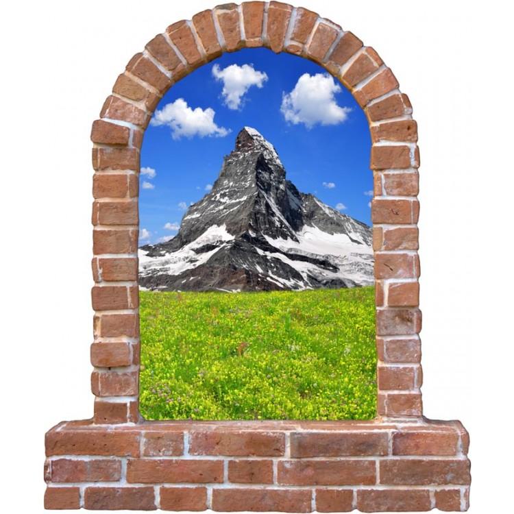 Adesivo trompe l'oeil montagna