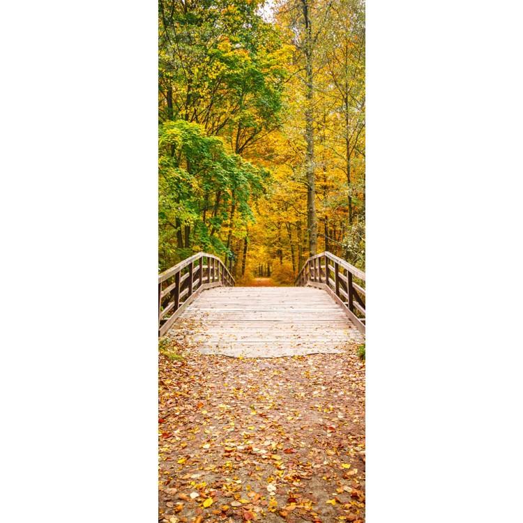 adesivo per porta bosco in autunno