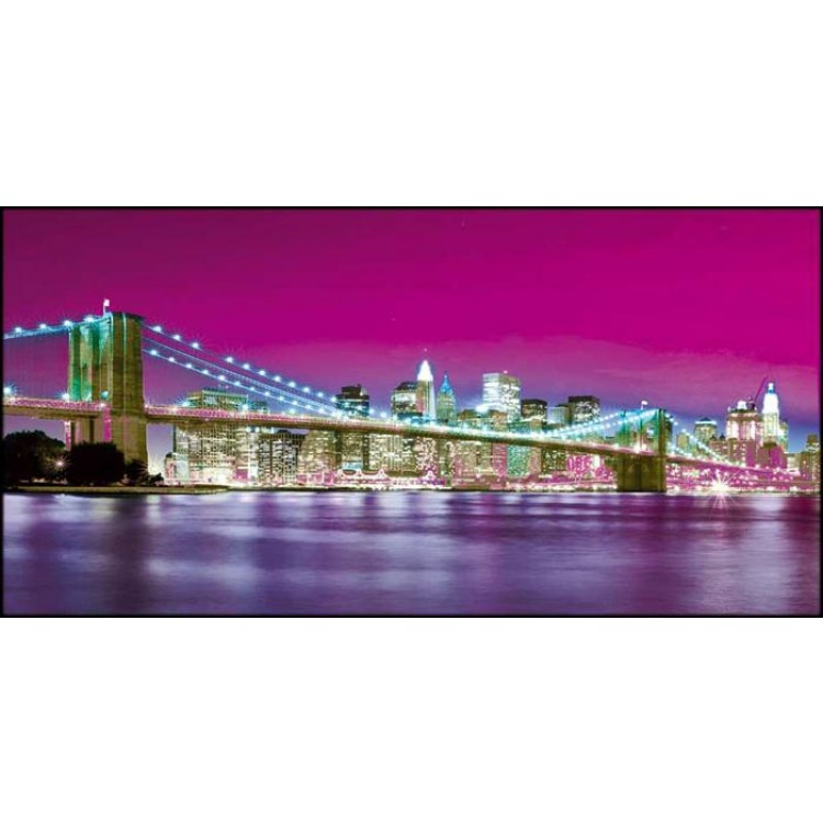 New York Lit Violet | Quadro America su tela