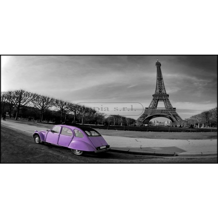 Tour Eiffel et voiture glicine   Quadro su tela