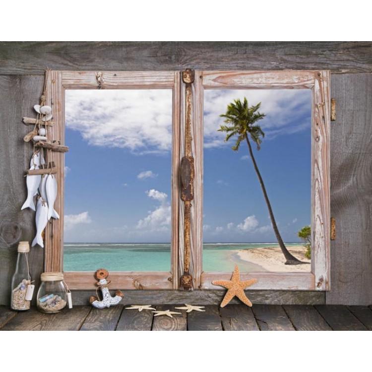 Finestra su spiaggia esotica trompe l 39 oeil sticker - Trompe l oeil finestra ...