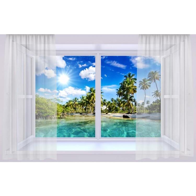 Trompe l'Oeil | Finestra con su Spiaggia Tropicale