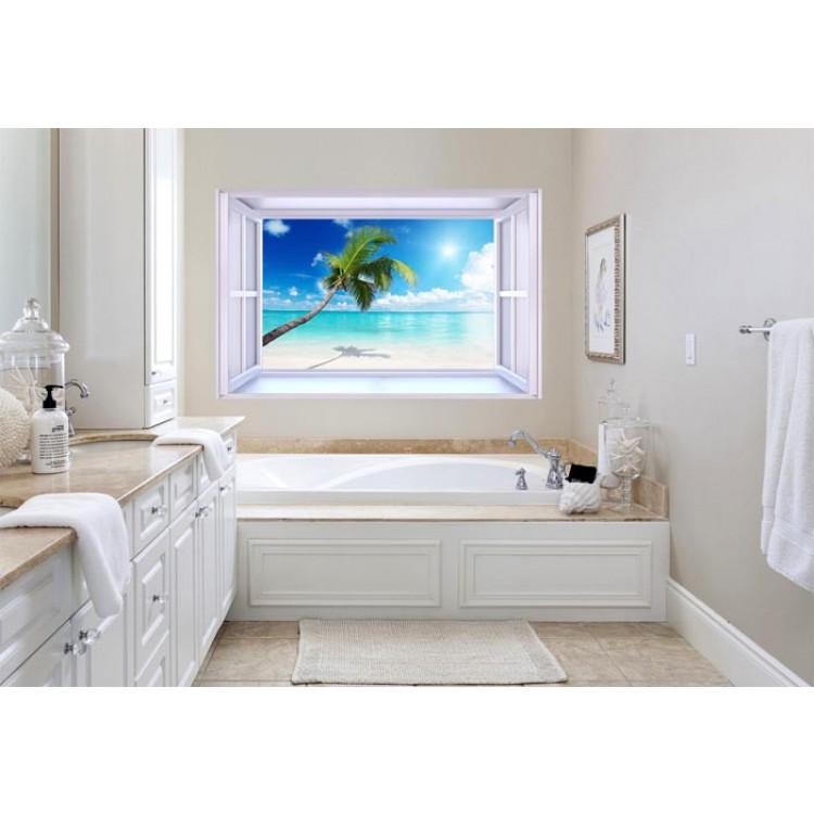 Ambientazione Trompe l'Oeil | Finestra su Spiaggia Bianca