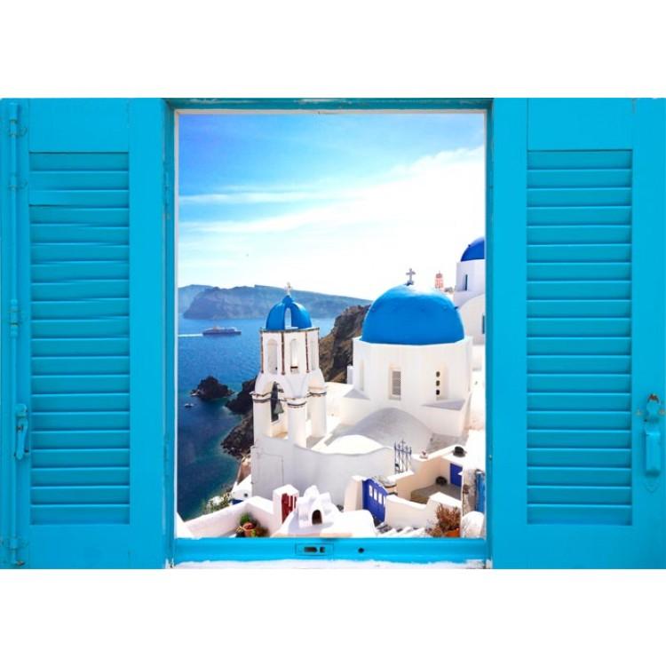 Adesivi Murali Finte Finestre.Finestra Sulla Grecia Adesivo Trompe L Oeil