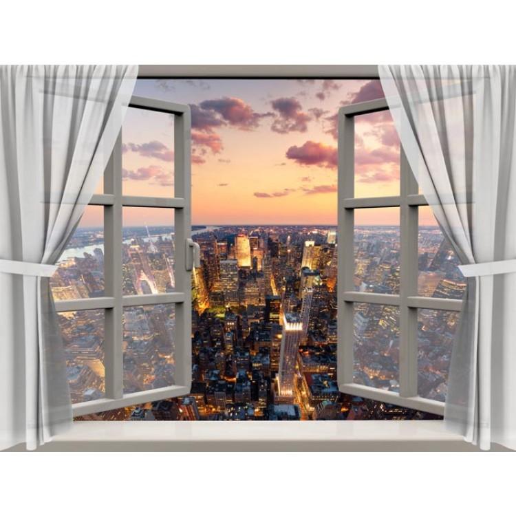 Finestra sulla city trompe l 39 oeil adesivo - Trompe l oeil finestra ...
