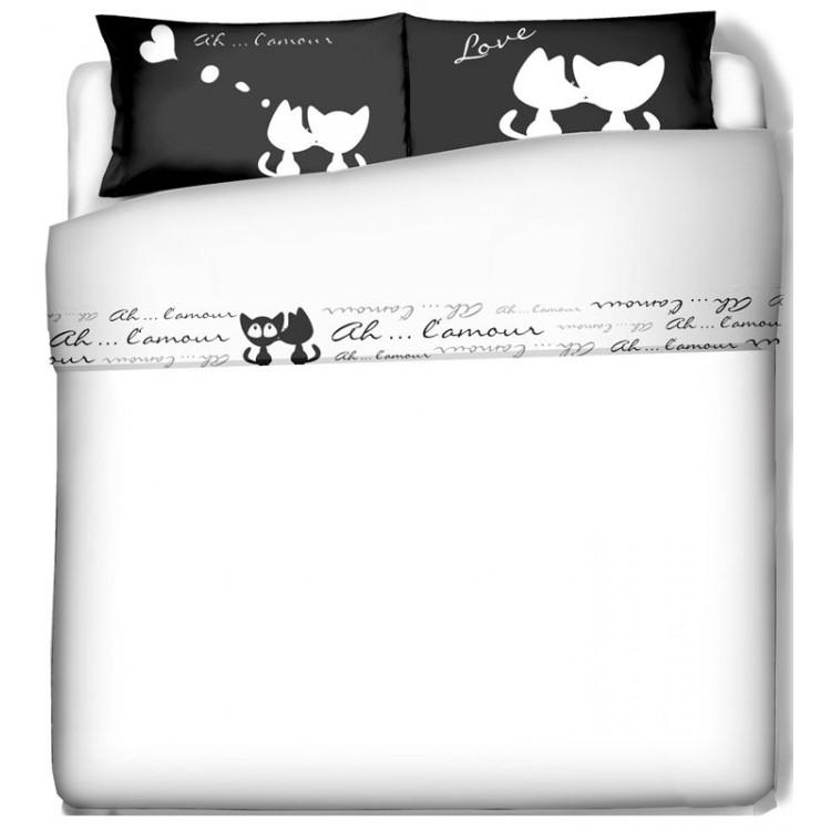 Lenzuola Matrimoniali Con Stampe Animali.Completo Lenzuola Gatti Innamorati Biancheria D Arredo Per La Casa