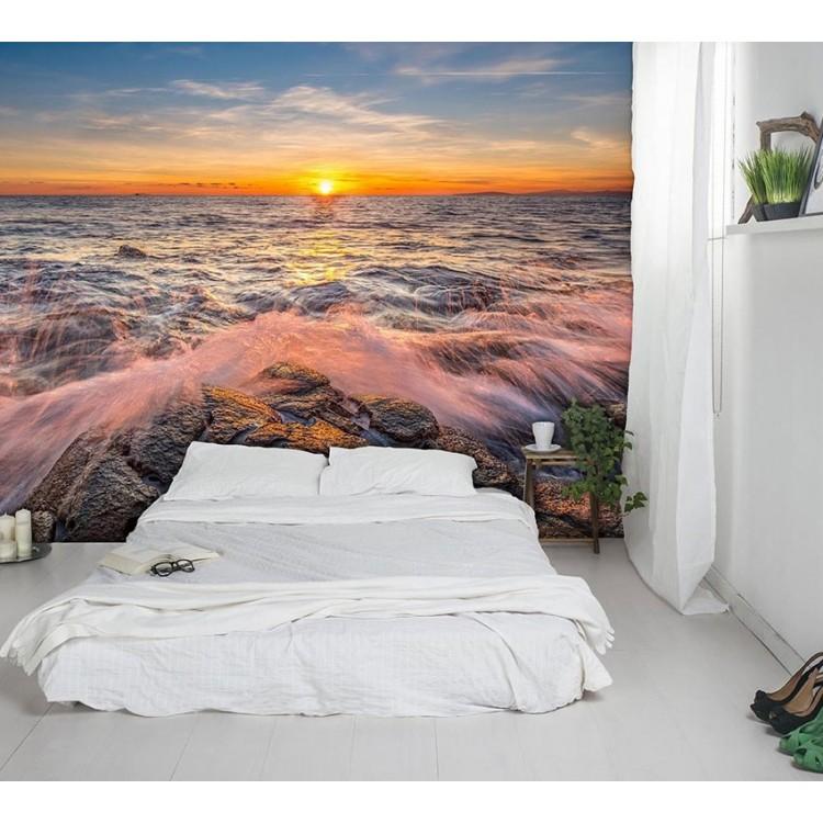 fotomurale design mare tramonto