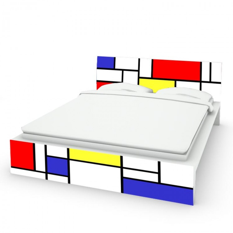 Letto malm mondrian sticker per mobile facile da applicare - Mobile malm ikea ...