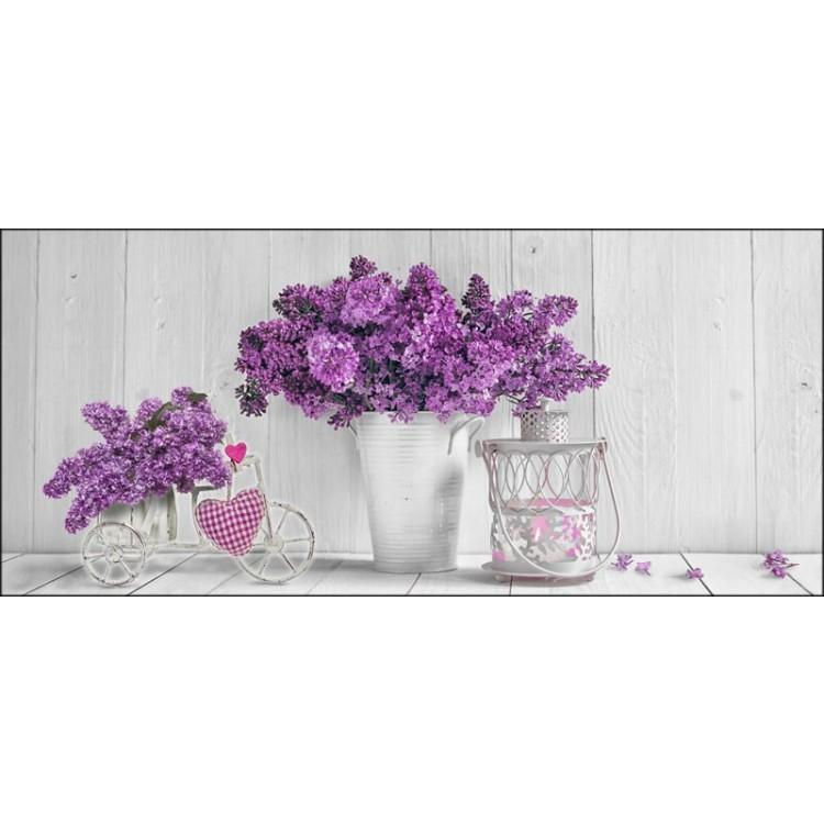 Purple Flowers | Quadro su tela Shabby Chic