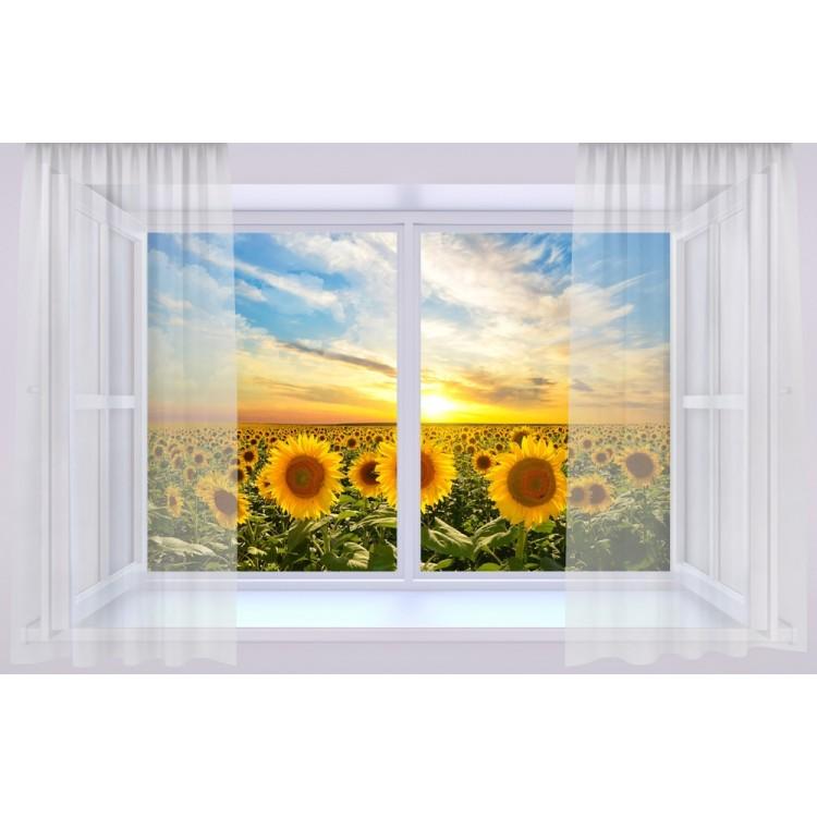 quadro effetto finestra sui girasoli