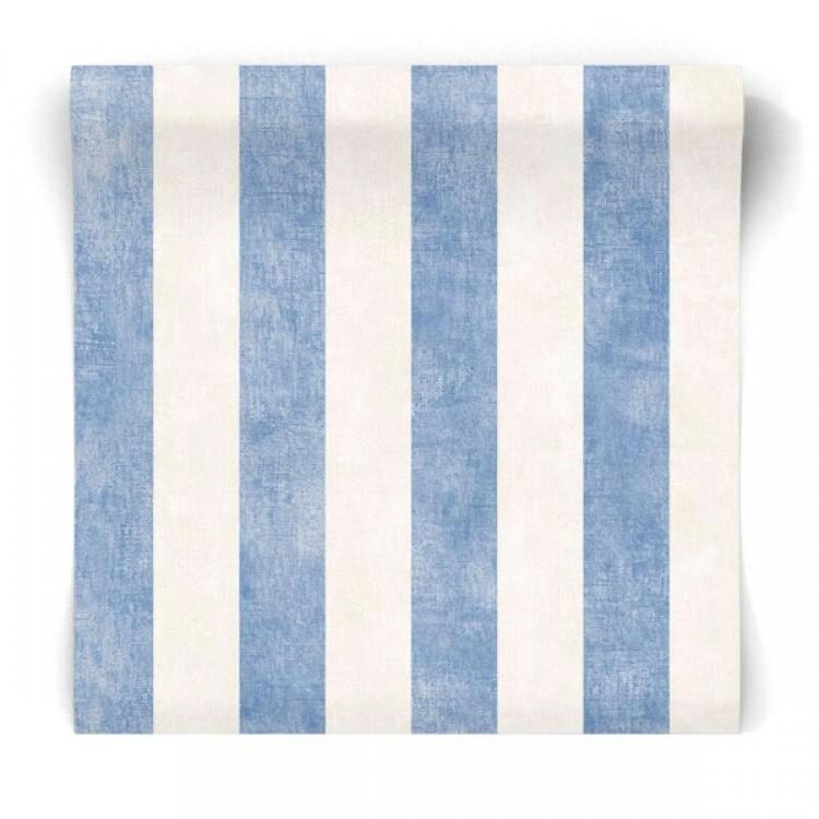 Carta da parati a righe blu e crema lino