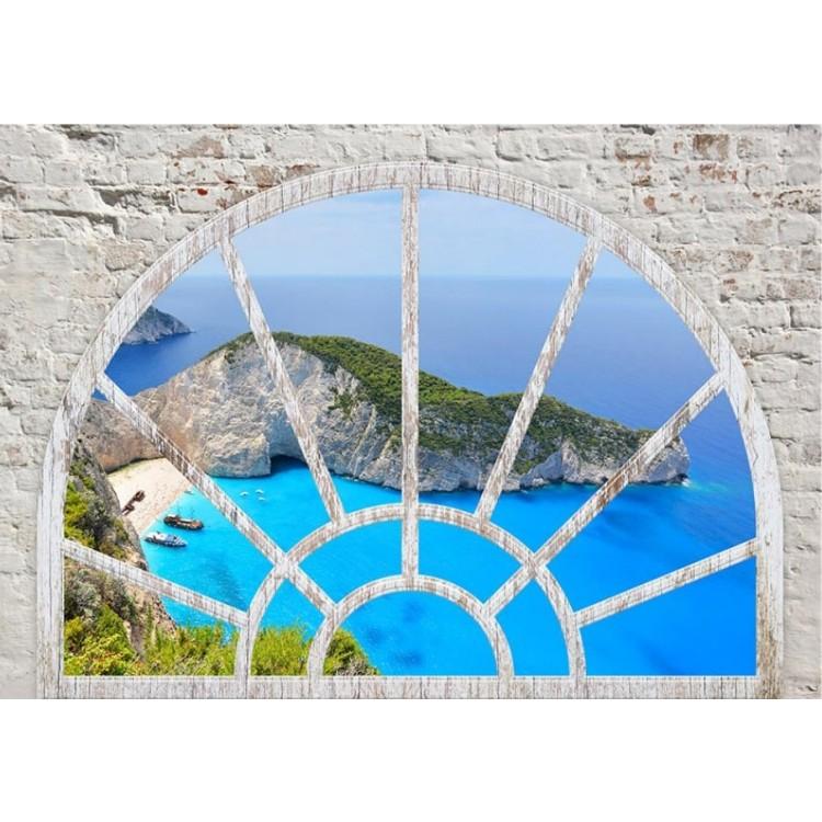 fotomurale arco finestra sul mare